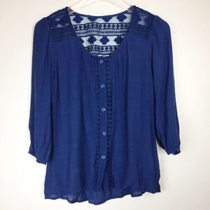 Anthropologie Mine | Navy Lace Button Down | S